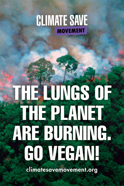 The lungs of the planet are burning - Go Vegan placard