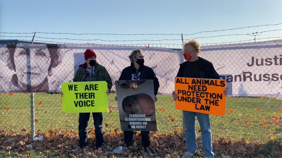 Joaquin Phoenix at Toronto Pig Save vigil